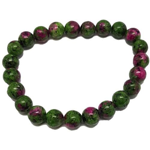 Ruby Zoisite  6-7 mm Round Bead Stretch Bracelet
