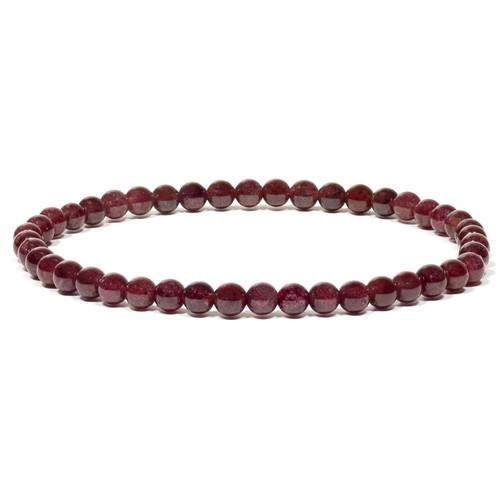 Garnet 4mm Round Bead Stretch Bracelet
