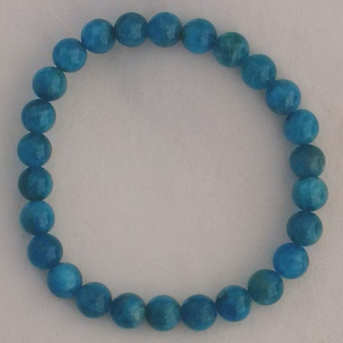 Apatite Blue 7 mm Round Bead Stretch Bracelet