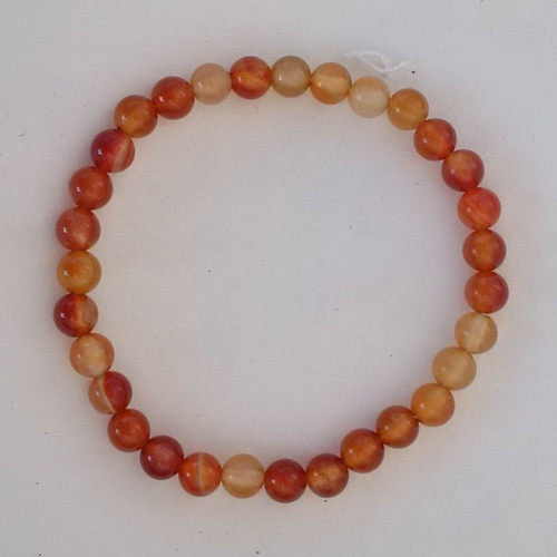 Carnelian Agate 6 mm Bead Round Stretch Bracelet