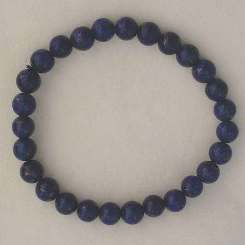 Lapis 7 mm Round Bead Stretch Bracelet