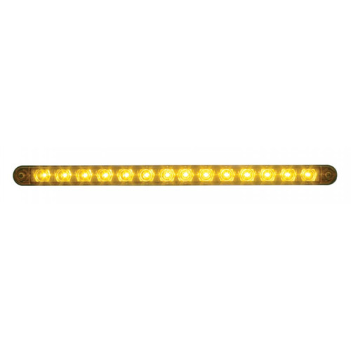 "14 LED 12"" AUXILIARY STRIP LIGHT AMBER w/BEZEL"