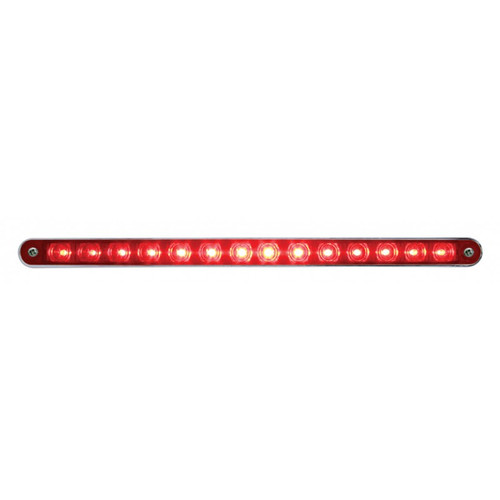 "14 LED 12"" AUXILIARY STRIP LIGHT RED w/BEZEL"