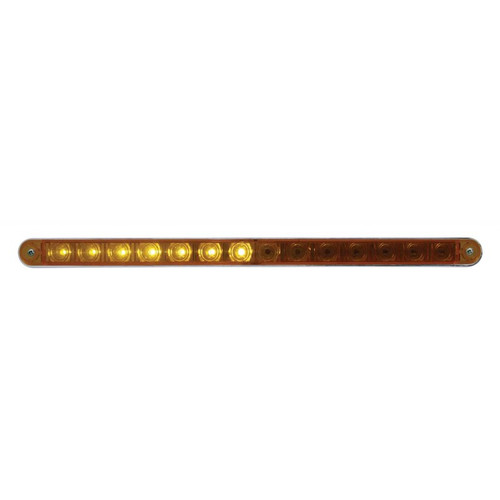 "14 LED 12"" SQUENTIAL STRIP LIGHT w/BEZEL - AMBER"