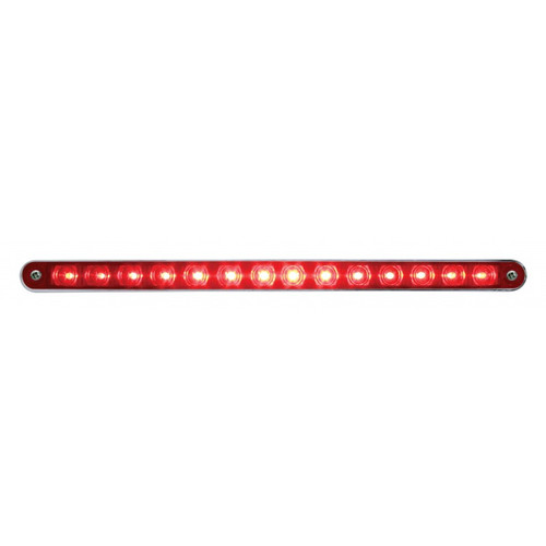 "14 LED 12"" SQUENTIAL STRIP LIGHT w/BEZEL - RED"