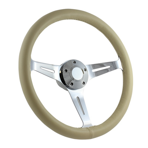 "15"" CLASSIC FULL LEATHER WRAP STEERING WHEEL - IVORY"