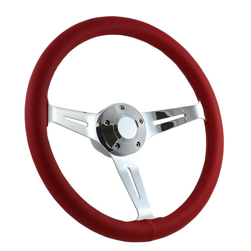 """15"""" CLASSIC FULL LEATHER WRAP STEERING WHEEL - RED"""