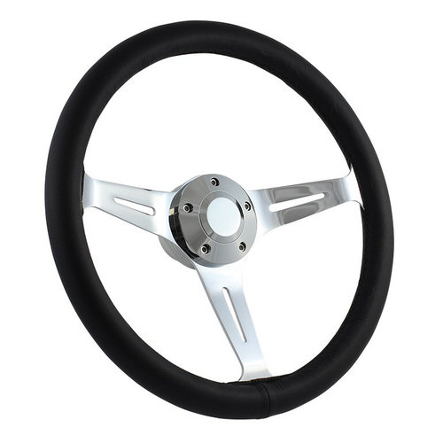 "15"" CLASSIC FULL LEATHER WRAP STEERING WHEEL - BLACK"