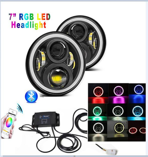 """7"""" LED HEADLIGHTS with COLOR CHANGING HALOS (pair)"""