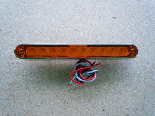 "10 LED 6 1/2"" STRIP LIGHT AMBER W/CHROME BEZEL"