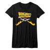 Back to the Future Delorean Fire Tracks Juniors T-Shirt