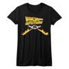 Back to the Future Delorean Fire Tracks Juniors T-Shirt