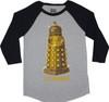 Doctor Who Gold Dalek Exterminate Raglan Tee T-Shirt