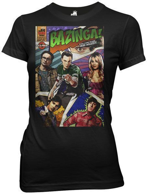 Big Bang Theory Bazinga Comic Book Cover Juniors T-Shirt