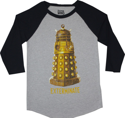 Doctor Who Gold Dalek Exterminate Raglan Tee T-Shirt