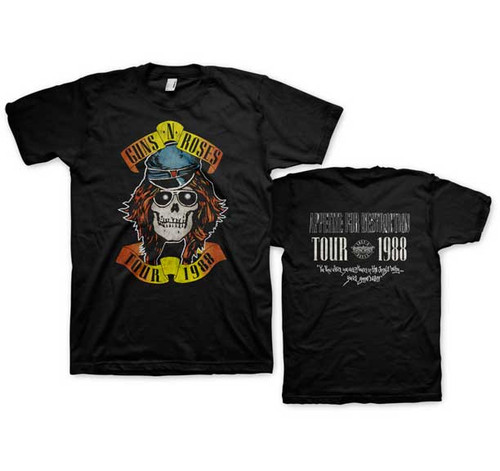 Guns N Roses Appetite for Destruction Tour 1988 2-Sided T-Shirt