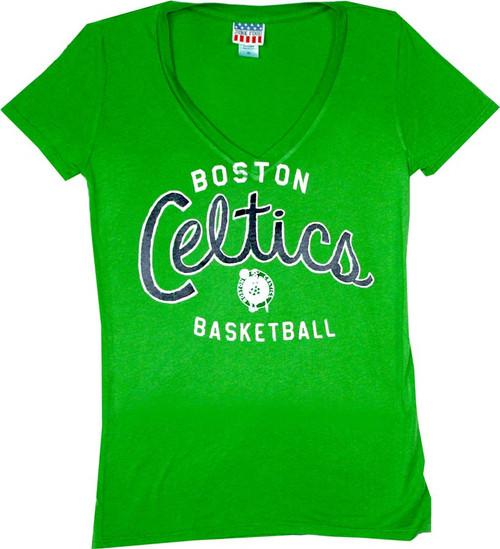 NBA Boston Celtics Women's V-Neck T-Shirt by Junk Food