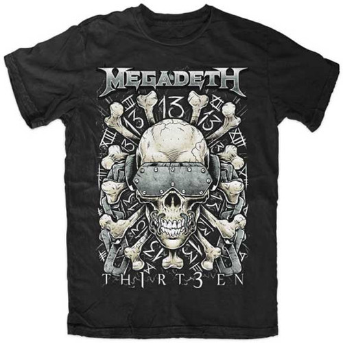 "Megadeth Skull and """"TH1RT3EN"""" Black T-Shirt"