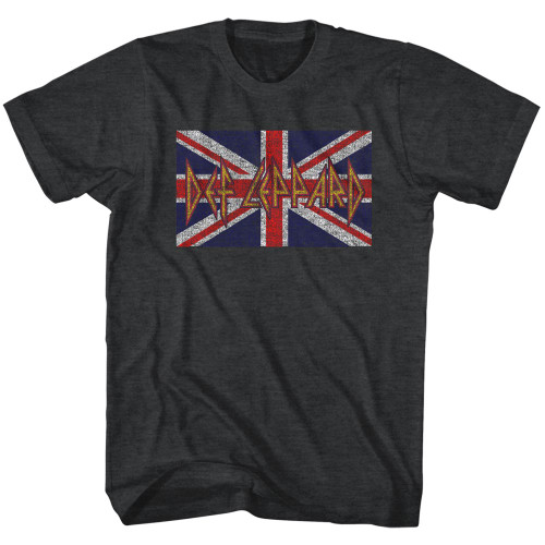 Def Leppard Union Jack on Graphite Heather T-Shirt