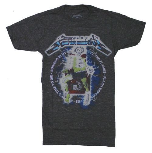 Metallica Vintage Electric Chair T-Shirt-Heather Grey