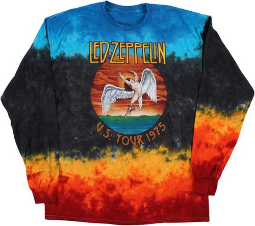 Led Zeppelin US Tour 1975 Long Sleeve Tie Dye T-Shirt