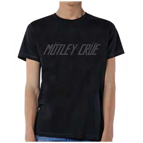 Motley Crue Grayscale Logo on Black T-Shirt