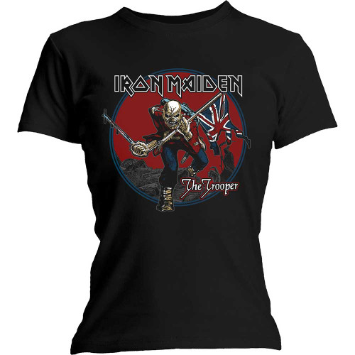 Iron Maiden Trooper in Red Sky Juniors/Ladies T-Shirt