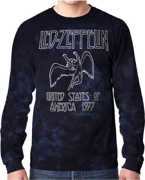 Led Zeppelin Long Sleeve 1977 Tour Tie Dye T-Shirt