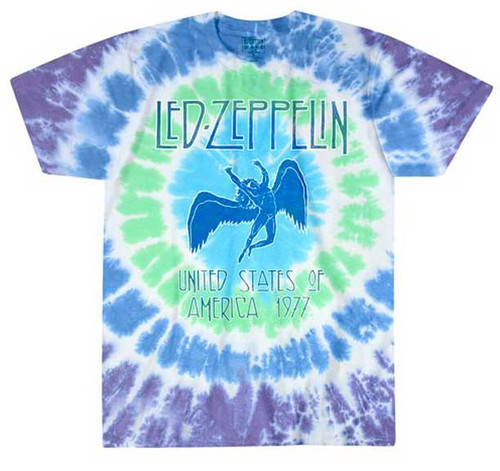 Led Zeppelin 1977 Tour Icarus Tie Dye T-Shirt