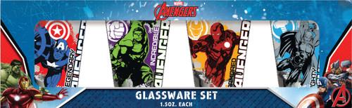 Marvel Avengers on Splatter Image 4 Piece Shot Glass Set