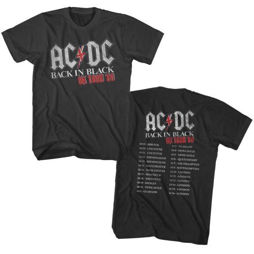 AC/DC Back in Black 1980 UK Tour T-Shirt