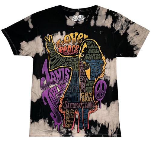 Janis Joplin Top 10 Songs on Tie Dye T-Shirt