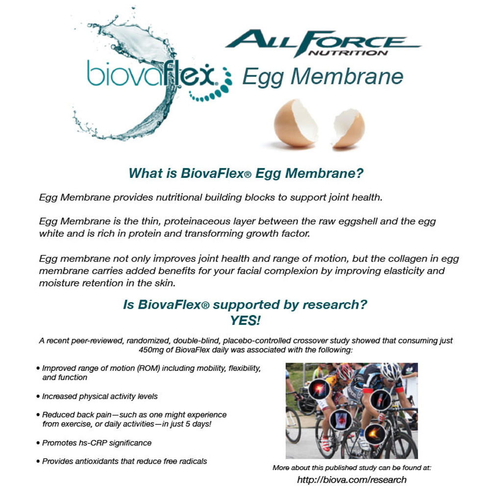 Our Multi-force Joint contains 500 mgs of BiovaFlex® Egg Membrane per serving.