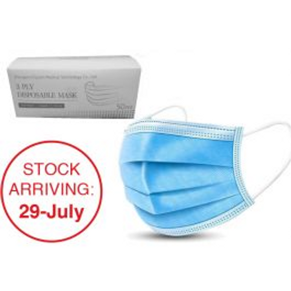 Disposable Face Mask - Elastic Type 3ply 50 Pack