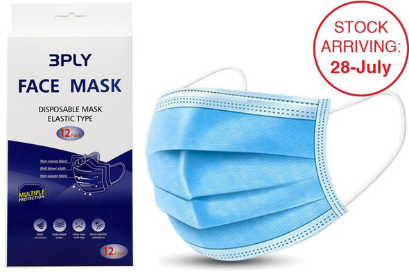 Disposable Face Mask - Elastic Type 3ply 12 Pack
