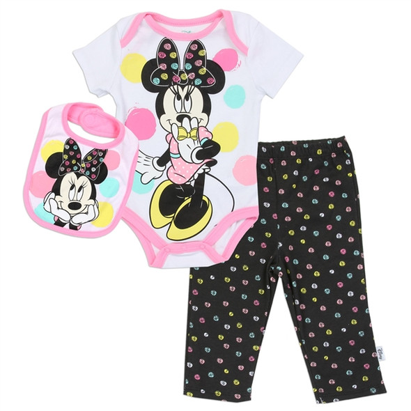 Baby Girls New Born Minnie Mouse Bodysuit & Pant with Bib Set