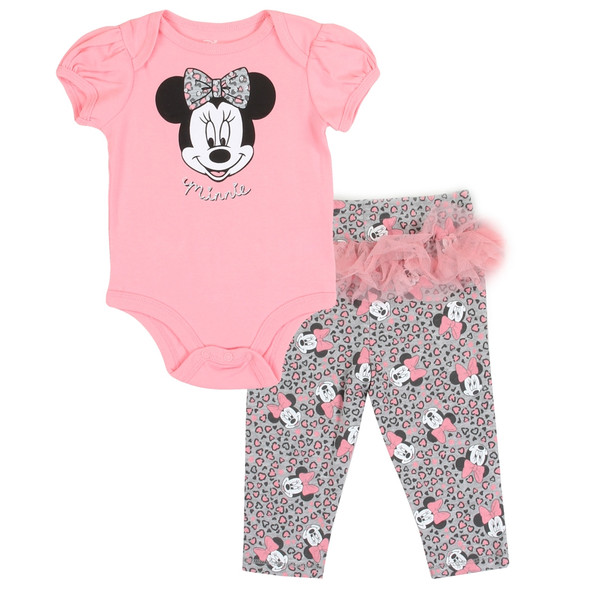 Baby Girls Minnie Mouse New Born Girls Body Suit & Pant Set