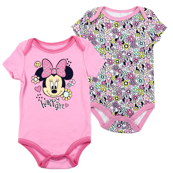 Baby Girls New Born Pink Minnie Mouse Body Suit 2 Pack