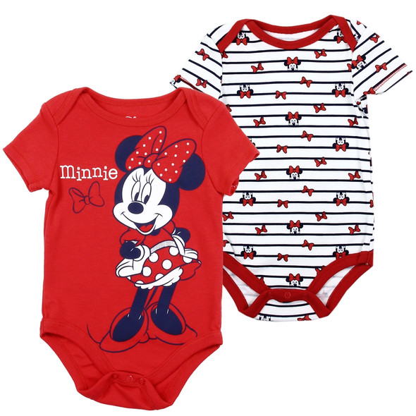 Baby Girls New Born Red Minnie Mouse Body Suit 2 Pack