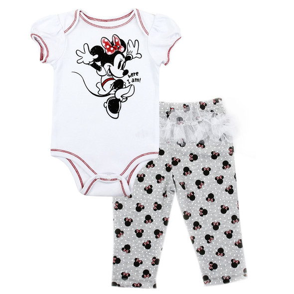 Baby Girls Minnie Mouse New Born Girls White Body Suit & Pant Set