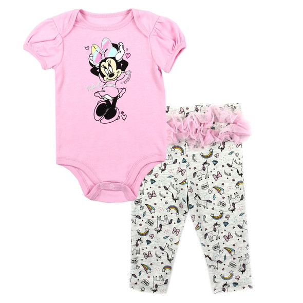 Baby Girls Minnie Mouse New Born Girls Pink Body Suit & Pant Set