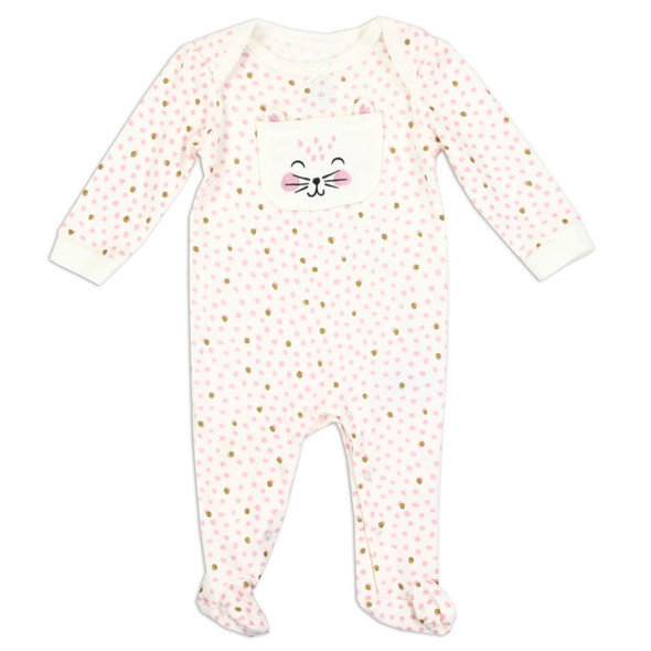 Baby Girls New Born Pink Interlock Growsuit