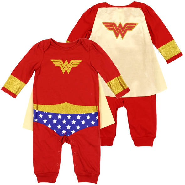Baby Girls New Born Wonder Woman Grow Suit with Cape