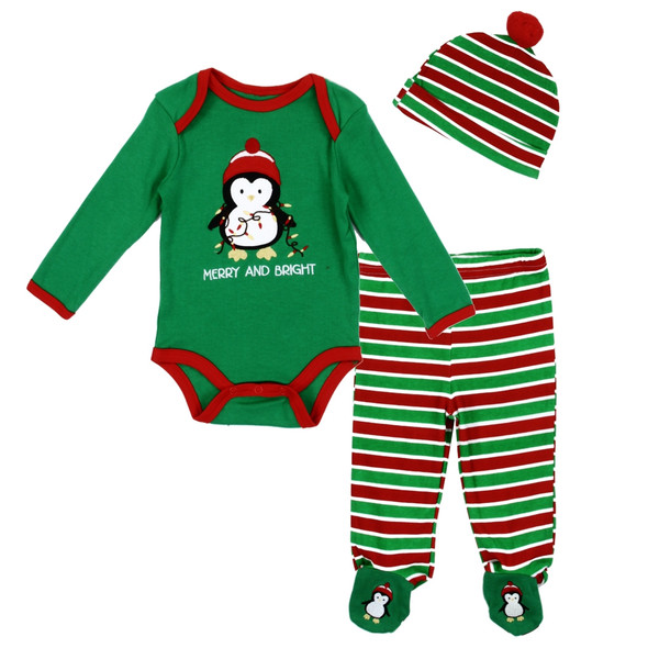 New Born Unisex Merry & Bright Holiday 3pc Set