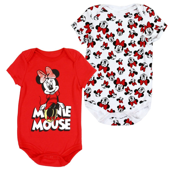 Baby Girls New Born Minnie Mouse Hot Red/White Bodysuit 2 Pack