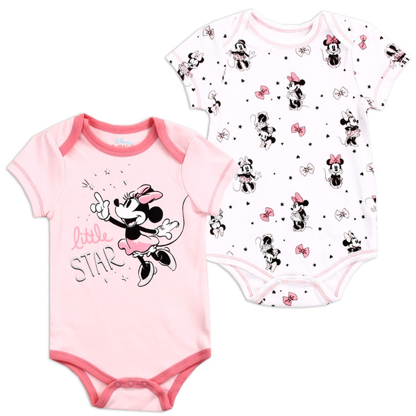 Baby Girls New Born Pink Minnie Mouse Bodysuit 2 Pack