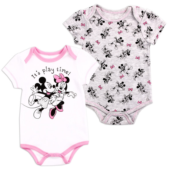 Baby Girls New Born White Minnie Mouse Bodysuit 2 Pack