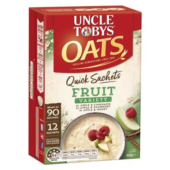 Uncle Toby Quick Oats Fruit Variety Satchels Breakfast Cereal 12 Pack