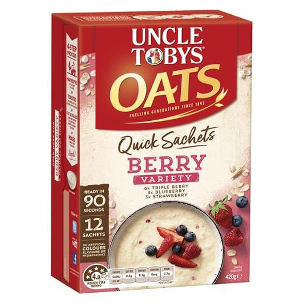 Uncle Toby Quick Oats Berry Variety Pack Breakfast Cereal 12 Pack