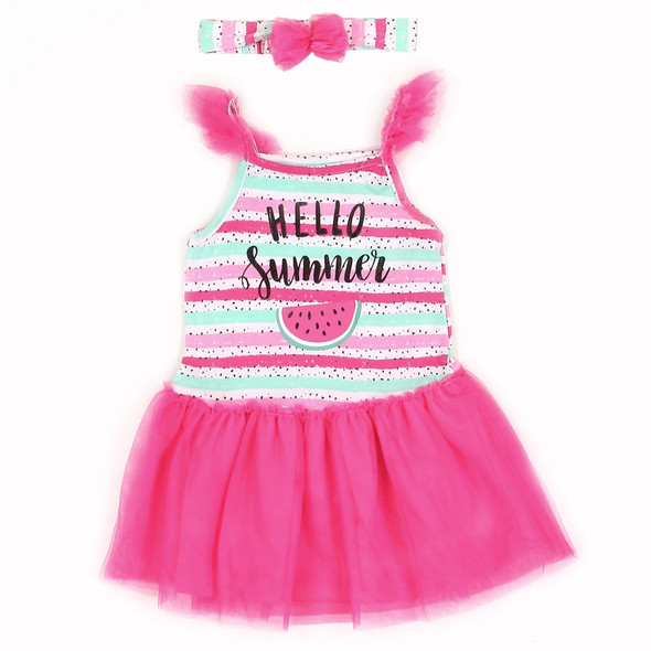 Infant Girls Hello Summer Watermelon Dress with Head Band